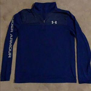 UA 1/4 zip long sleeve heat gear, blue YLG